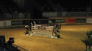 Just one of the jumps a horse and rider jump at The Royal Horse Show.
