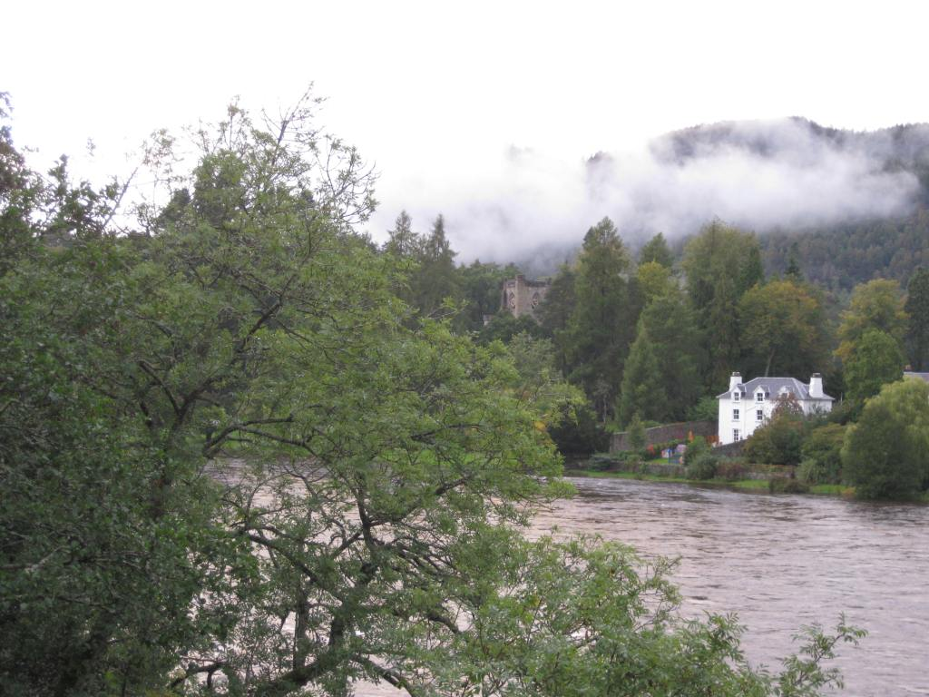 Hiking trail follows the river at Dunkeld, Scotland