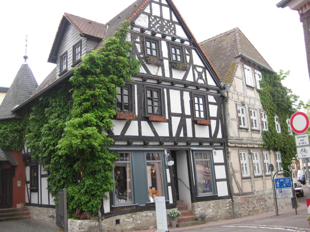 Half-timbered historic buildings in Bad Homburg (converted into flower shop).