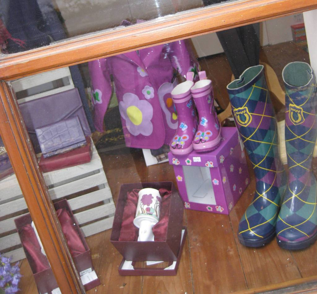 Dunkeld main street shops where you'll find colourful rain boots